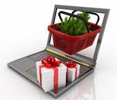 Begreppet jul shopping online — Stockfoto