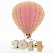 2014 a year flies on a balloon — Stock Photo