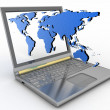 Internet concept  global connection laptop — Stock Photo