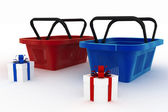 Empty red and blue plastic shopping baskets with boxes of gifts — Stock Photo