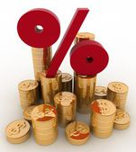 Golden coins on percent. Conception of growth of income — Stock Photo