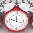 3d big red alarm clock and alarm clocks on white — Stock Photo