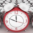 Stock Photo: 3d big red alarm clock and alarm clocks on white