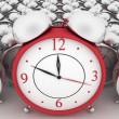 3d big red alarm clock and alarm clocks on white — Stock Photo
