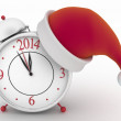 Alarm clock with christmas santa hat, — Stock Photo