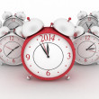 2014 year on big alarm clock. 3d alarm clocks on white — Stock Photo