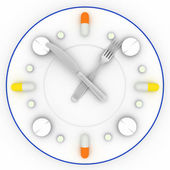 Clock consist of the plate, pills, forks with a knife — Stock Photo