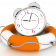 Stock Photo: Concept of time to be Safe. Alarm clock with Life Buoy on a white background