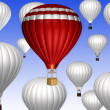 Stock Photo: Hot air balloons on blue sky background