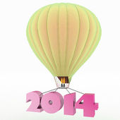 2014 a year flies on a balloon — Stock Photo