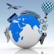 Types of transport on a globe. Concept of international tourism — Stock Photo #37979825