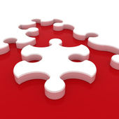 White puzzle on red background. Isolated 3D image — Stock Photo