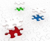 White puzzle on colored background — Stock Photo