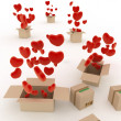 Hearts flying out of boxes — Stock Photo