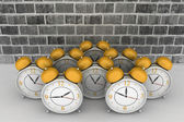 3d brick wall background with alarm clocks — ストック写真