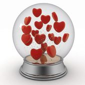 Snow globe with red hearts on white background — Stock Photo