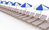 Row from many deck-chairs with parasols on a white background — Stock Photo
