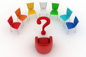 Arm-chair of chief and multicolored office chairs are put by a half-round with question-mark in a center — Stock Photo
