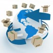 3d cardboard boxes around globe on white background. Worldwide shipping concept. — Stock Photo