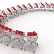 Concept of discount. Shopping carts full of percentage sale. — Stock Photo #39209583