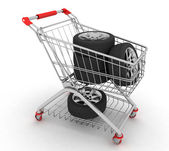 3D Shopping cart with wheels. Conception of purchase of repair parts for a car — Stock Photo