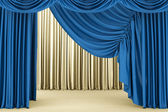 Open blue theater curtain, background — Stock Photo