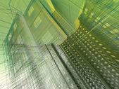 Soyut, modern bir bina. beyaz zemin üzerinde 3d render — Stok fotoğraf