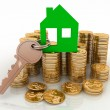 3d house symbol with key on Pile of gold coins. Conception of growth of mortgage credit — Stock Photo #39399729