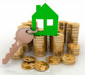 3d house symbol with key on Pile of gold coins. Conception of growth of mortgage credit — Stock Photo