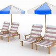 Deckchair and parasol on white background. — Stock Photo