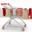 3d render shopping cart and shopping bags — Stock Photo
