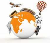 Types of transport on a globe. Concept of international tourism. — Stock Photo