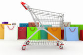 3d render shopping cart and shopping bags — Stockfoto