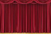 Rote geschlossene Theater Vorhang, Hintergrund — Stockfoto