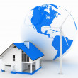 Stock Photo: Eco house with wind turbine , environmentally friendly
