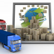 Cardboard boxes around globe on laptop screen and two trucks — Stock Photo #40180059