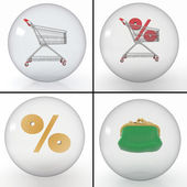 Set of different objects for shopping for discounts at the store in transparent balls — Stock Photo