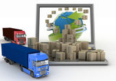 Cardboard boxes around the globe on a laptop screen and two trucks — Stockfoto