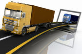 Trucks on freeway coming out of a laptop. Concept of logistics, delivery and transporting by freight motor transport — Stock Photo