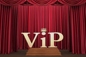 VIP on pedestal on the scene illumination a searchlight — Stock Photo