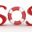 Red text SOS with lifebelt — Stock Photo #40939793