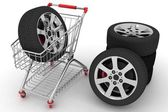 3D Shopping cart with wheels — Stock Photo