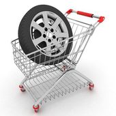 3d Warenkorb mit Rädern — Stockfoto