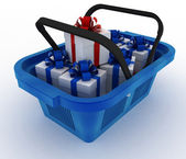 Blue plastic shopping basket with boxes of gifts — Stock Photo