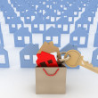 Model house symbol set and key in paper shopping bag — Stock Photo #41754193