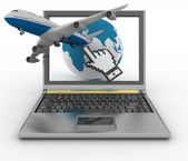 Hand cursor, earth globe and passenger plane taking off from the laptop screen — Stock Photo