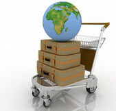 Transportation of earth and suitcases on a freight light cart — Stock Photo