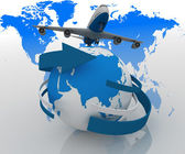 3d passenger jet airplane travels around the world — Stock Photo