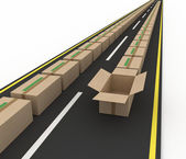 Stream of cardboard boxes on road. Concept of fast delivery — Stock Photo