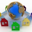 Ecological houses with solar panels and earth — Foto Stock